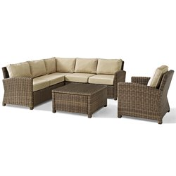Biltmore 5 Piece Outdoor Wicker Seating Set with Sand Cushions and Arm Chair