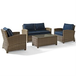Biltmore 4 Piece Outdoor Wicker Seating Set with Navy Cushions and Two Arm Chairs