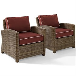 Crosley Biltmore 2 Piece Outdoor Wicker Seating Set with Sangria Cushions and Two Arm Chairs