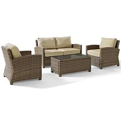Crosley Biltmore 4 Piece Outdoor Wicker Seating Set with Sand Cushions and Two Arm Chairs