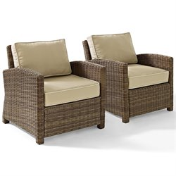 Crosley Biltmore 2 Piece Outdoor Wicker Seating Set with Sand Cushions and Two Arm Chairs