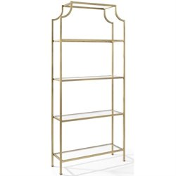 Crosley Aimee Glass Bookcase in Antique Gold