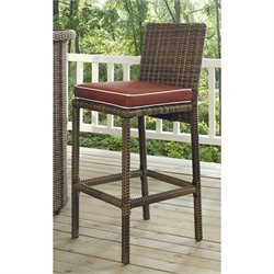 Crosley Bradenton Outdoor Wicker Bar Stool with Cushion (Set of 2)