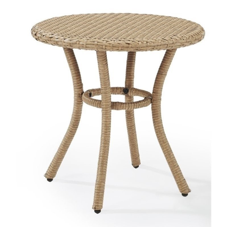 Crosley palm harbor outdoor wicker round end table in for Outdoor furniture end tables