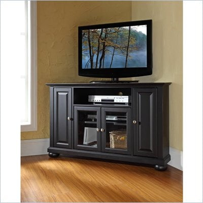 "Crosley Furniture Alexandria 48"" Corner TV Stand in Black Finish"