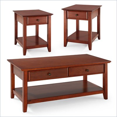 Crosley Alexandria 3 Piece Occasional Table Set in Classic Cherry