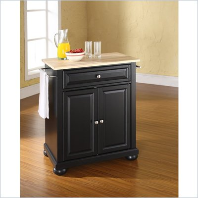 Crosley Furniture Alexandria Natural Wood Top Kitchen Island in Black