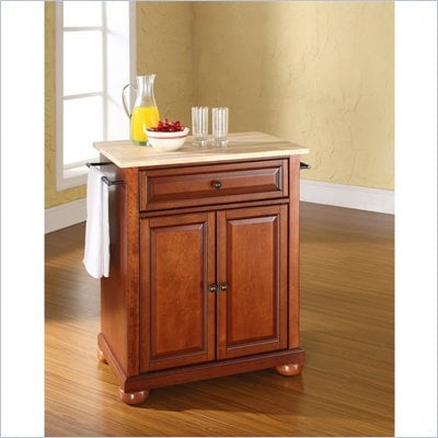 Crosley Furniture Alexandria Natural Wood Top Kitchen Island in Cherry