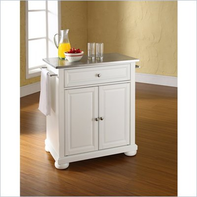 Crosley Furniture Alexandria Stainless Steel Top White Kitchen Island