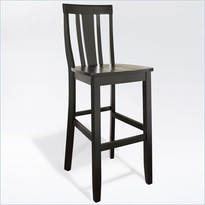 Crosley Furniture Bar Height Shield Back Bar Stool in Black Finish