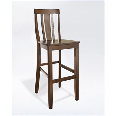 Crosley Furniture Bar Height Shield Back Bar Stool in Mahogany Finish