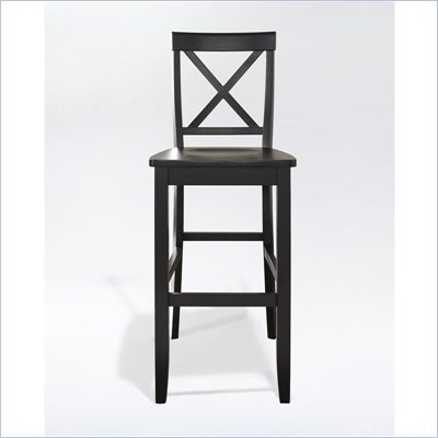 Crosley Furniture Bar Height X-Back Bar Stool in Black Finish