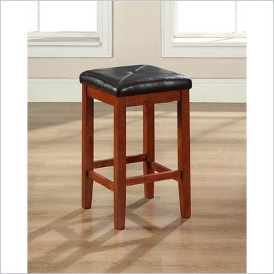 "Crosley Furniture 24"" Upholstered Square Bar Stool in Vintage Mahogany"
