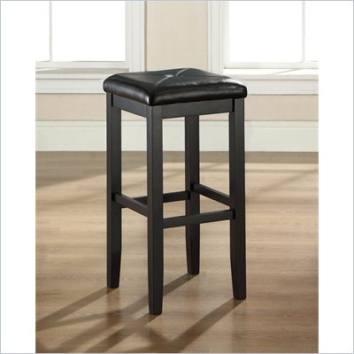 "Crosley Furniture 29"" Upholstered Square Bar Stool in Black"