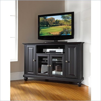 Crosley Furniture Cambridge 48&quot; Corner TV Stand in Black Finish