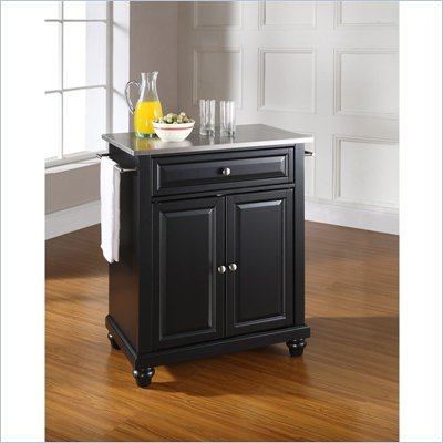 Crosley Furniture Cambridge Stainless Steel Top Black Kitchen Island