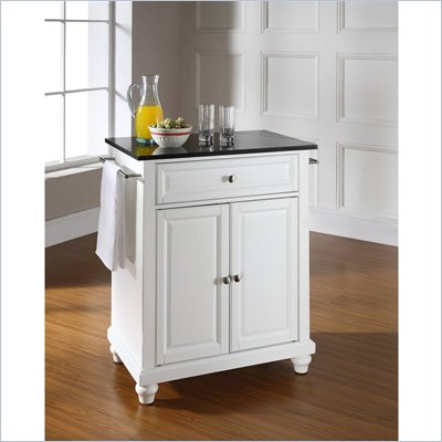 Crosley Furniture Cambridge Black Granite Top Kitchen Island in White