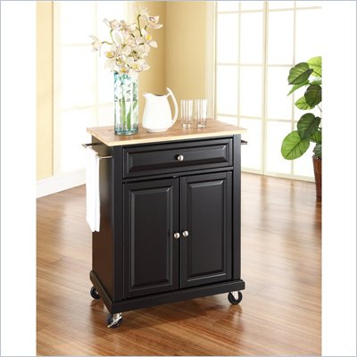 Crosley Furniture Natural Wood Top Kitchen Cart in Black
