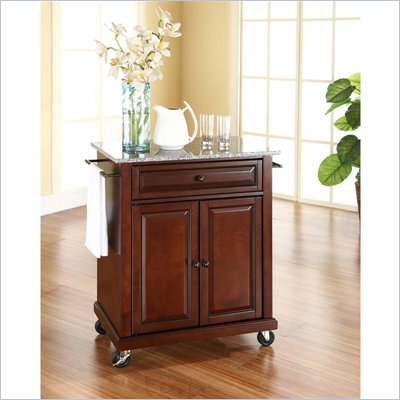 Crosley Furniture Solid Granite Top Kitchen Cart in Mahogany