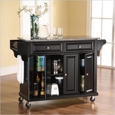 Crosley Furniture Solid Granite Top Kitchen Cart in Black Finish