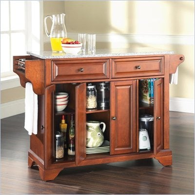 Crosley Furniture LaFayette Solid Granite Top Kitchen Island in Classic Cherry Finish