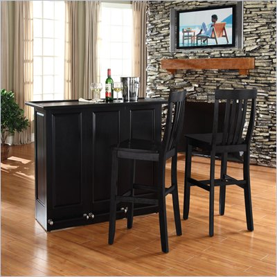 Crosley Mobile Folding Bar in Black with 30&quot; School House Stool