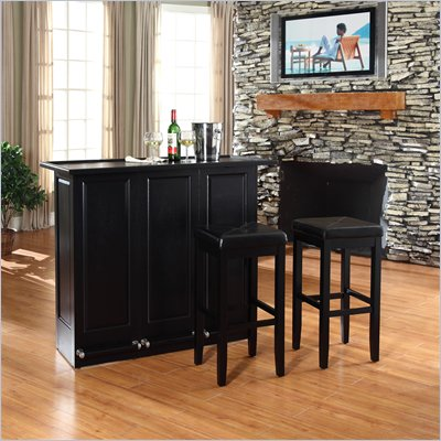 "Crosley Mobile Folding Bar in Black with 29"" Upholstered Stool"