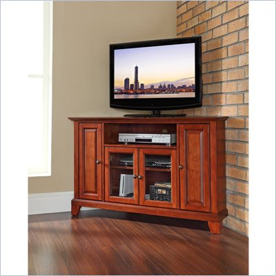 "Crosley Furniture Newport 48"" Corner TV Stand in Classic Cherry Finish"