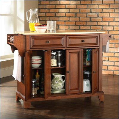 Crosley Furniture Newport Natural Wood Top Kitchen Island in Classic Cherry Finish