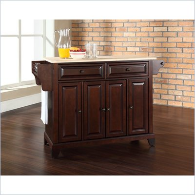 Crosley Furniture Newport Natural Wood Top Mahogany Kitchen Island