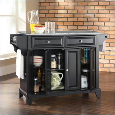 Crosley Furniture Newport Solid Granite Top Kitchen Island in Black Finish