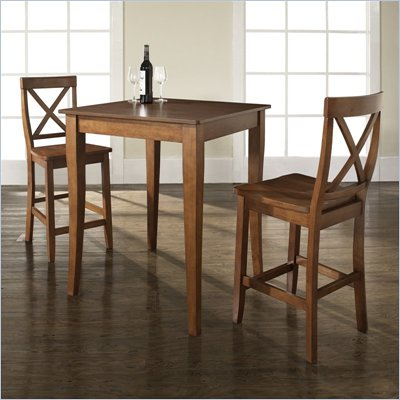 Crosley Furniture 3 Piece Pub Dining Set with Cabriole Leg and X-Back Stools in Classic Cherry Finish