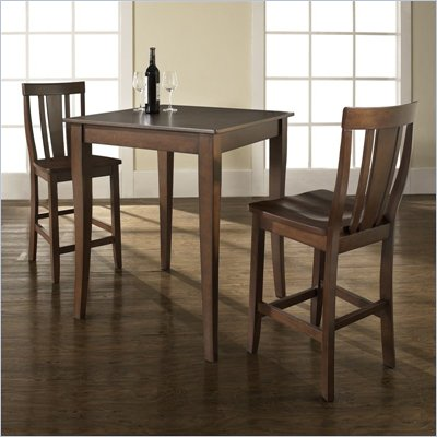 Crosley Furniture 3 Piece Pub Dining Set with Cabriole Leg and Shield Back Stools in Vintage Mahogany Finish