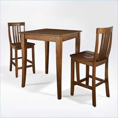 Crosley Furniture 3 Piece Pub Dining Set with Cabriole Leg and School House Stools in Classic Cherry Finish