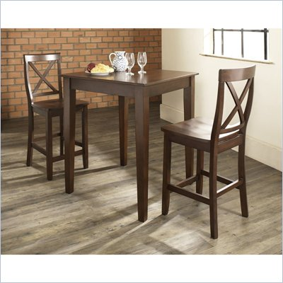 Crosley Furniture 3 Piece Pub Dining Set with Tapered Leg and X-Back Stools in Vintage Mahogany Finish