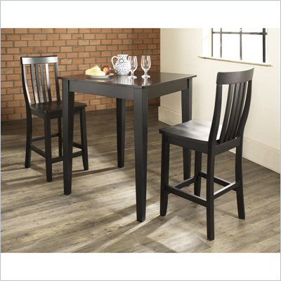 Crosley Furniture 3 Piece Pub Dining Set with Tapered Leg and School House Stools in Black Finish
