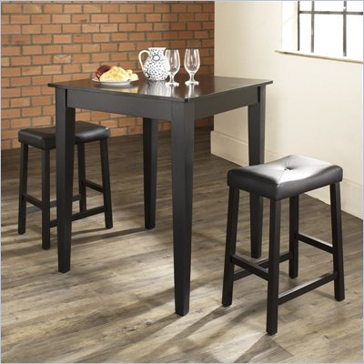 Crosley Furniture 3 Piece Pub Dining Set with Tapered Leg and Upholstered Saddle Stools in Black Finish
