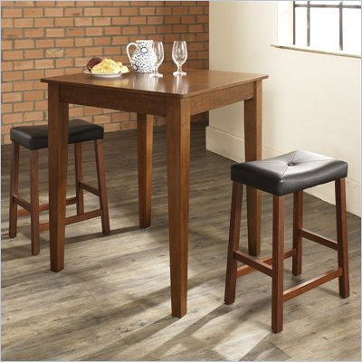Crosley Furniture 3 Piece Pub Dining Set with Tapered Leg and Upholstered Saddle Stools in Classic Cherry Finish