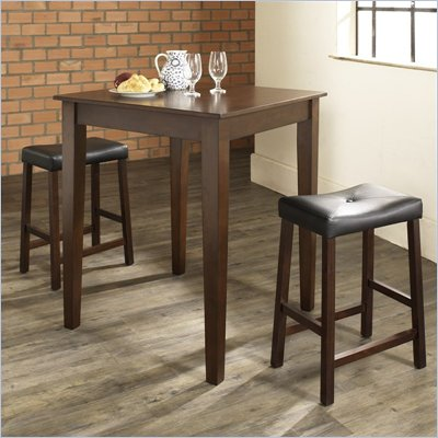 Crosley Furniture 3 Piece Pub Dining Set with Tapered Leg and Upholstered Saddle Stools in Vintage Mahogany Finish