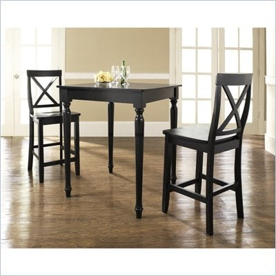 Crosley Furniture 3 Piece Pub Dining Set with Turned Leg and X-Back Stools in Black Finish