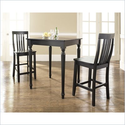 Crosley Furniture 3 Piece Pub Dining Set with Turned Leg and School House Stools in Black Finish