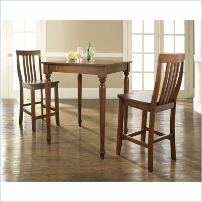 Crosley Furniture 3 Piece Pub Dining Set with Turned Leg and School House Stools in Classic Cherry Finish