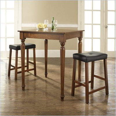 Crosley Furniture 3 Piece Pub Dining Set with Turned Leg and Upholstered Saddle Stools in Classic Cherry Finish