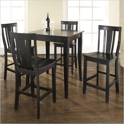 Crosley Furniture 5 Piece Pub Dining Set with Cabriole Leg and Shield Back Stools in Black Finish