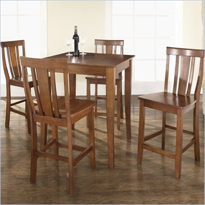 Crosley Furniture 5 Piece Pub Dining Set with Cabriole Leg and Shield Back Stools in Classic Cherry Finish