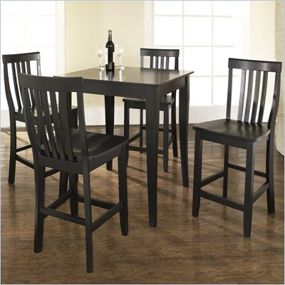 Crosley Furniture 5 Piece Pub Dining Set with Cabriole Leg and School House Stools in Black Finish