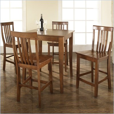 Crosley Furniture 5 Piece Pub Dining Set with Cabriole Leg and School House Stools in Classic Cherry Finish