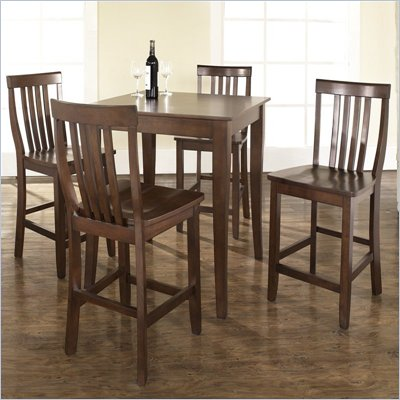 Crosley Furniture 5 Piece Pub Dining Set with Cabriole Leg and School House Stools in Vintage Mahogany Finish