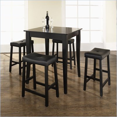 Crosley Furniture 5 Piece Pub Dining Set with Cabriole Leg and Upholstered Saddle Stools in Black Finish