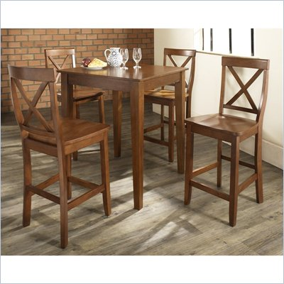 Crosley Furniture 5 Piece Pub Dining Set with Tapered Leg and X-Back Stools in Classic Cherry Finish